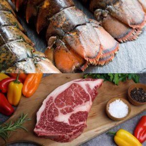 Wagyu Ribeye Steak & Lobster Tails